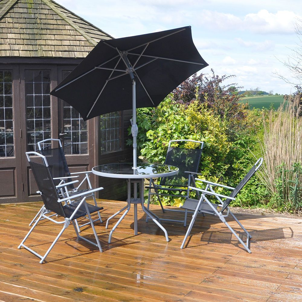 Garden Table & Chair Set Patio Dining Furniture Parasol ...