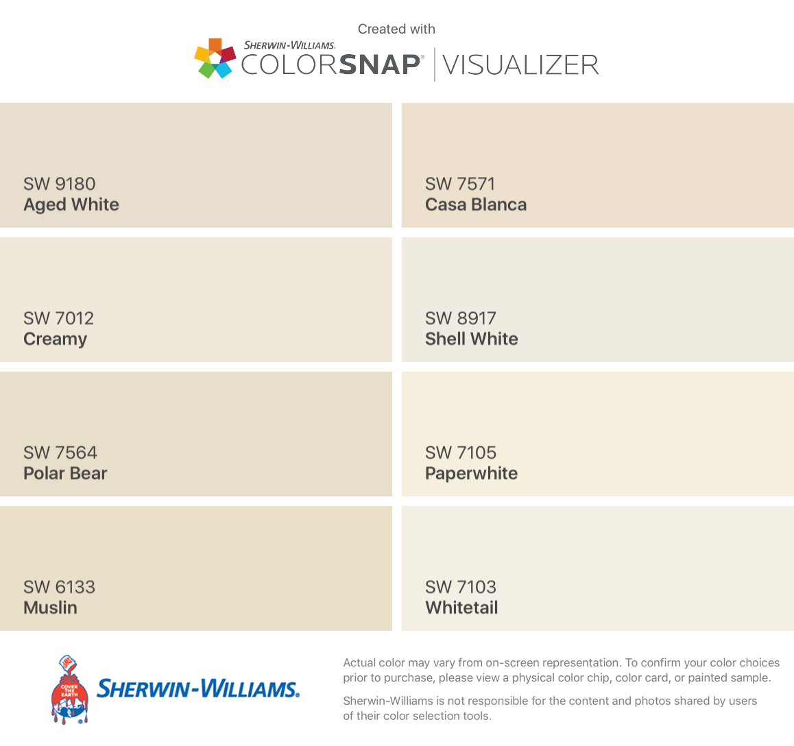 Found These Colors Colorsnap Visualizer For Iphone Sherwin Williams Aged White