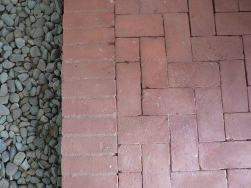 Herringbone Pattern Brick Paver Patio With Edge And Gravel Apparently Typical Of Classic Haver Homes In Phoenix