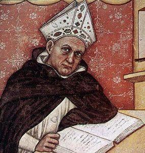 San Alberto Magno. Atributos: Hábito dominico o vestiduras episcopales. Libro, pluma y paloma.