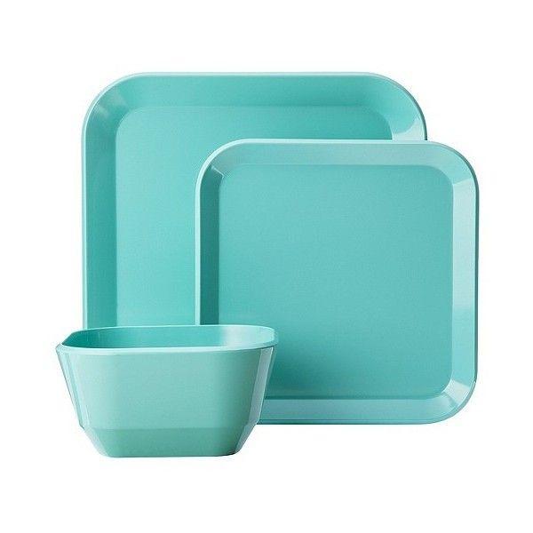 Room Essentials 12 Piece Square Dinnerware Set Teal Sea Going