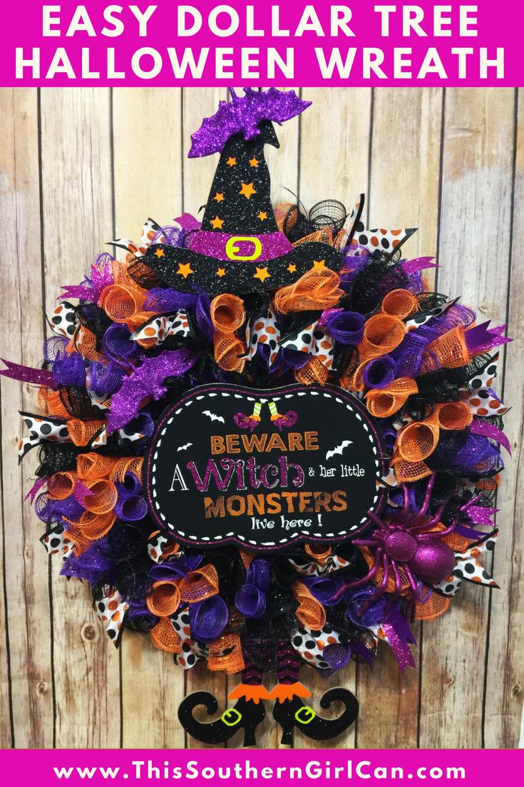 Learn How To Make An Easy Dollar Tree Deco Mesh Halloween Wreath