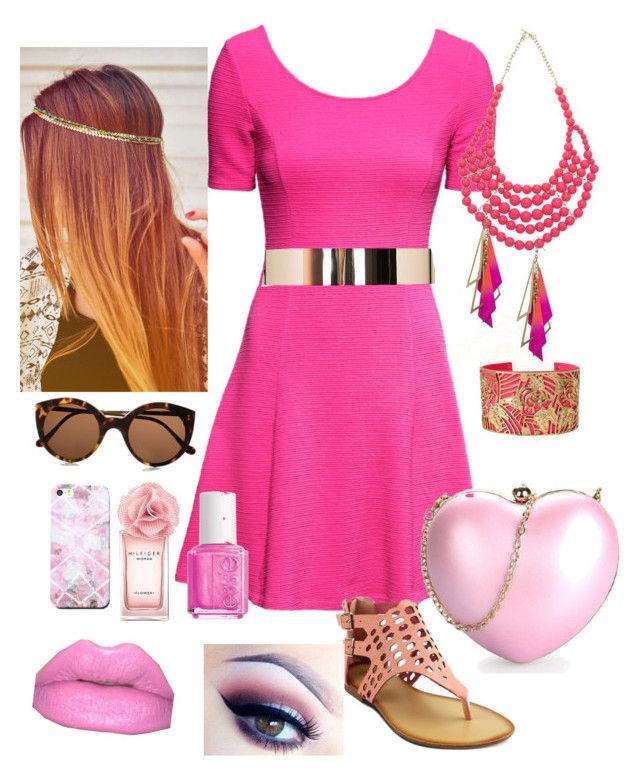"""""""Fuschia Confidence"""" by stefrosee ❤ liked on Polyvore featuring H&M, mi.im, Illesteva, Free People, Missguided, Essie, Tommy Hilfiger, Lipsy, Bebe and Betsey Johnson"""