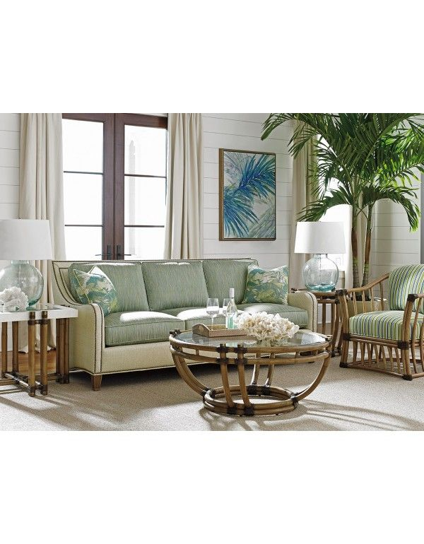 Twin Palms Koko Sofa in Soft Gold Texture by Tommy Bahama