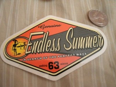 Vintage endless summer surf surfboard august hynson wingnut sticker 4 nos