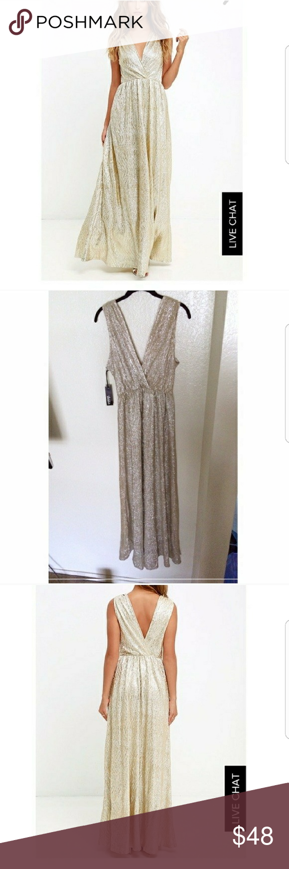 Luluus all that shimmer is gold maxi dress maxi dresses flow and