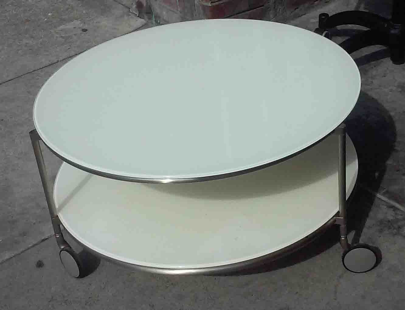 Pin By Linda On Wheels On Tables Mid Century Glass Coffee Table Coffee Table With Wheels Glass Coffee Table