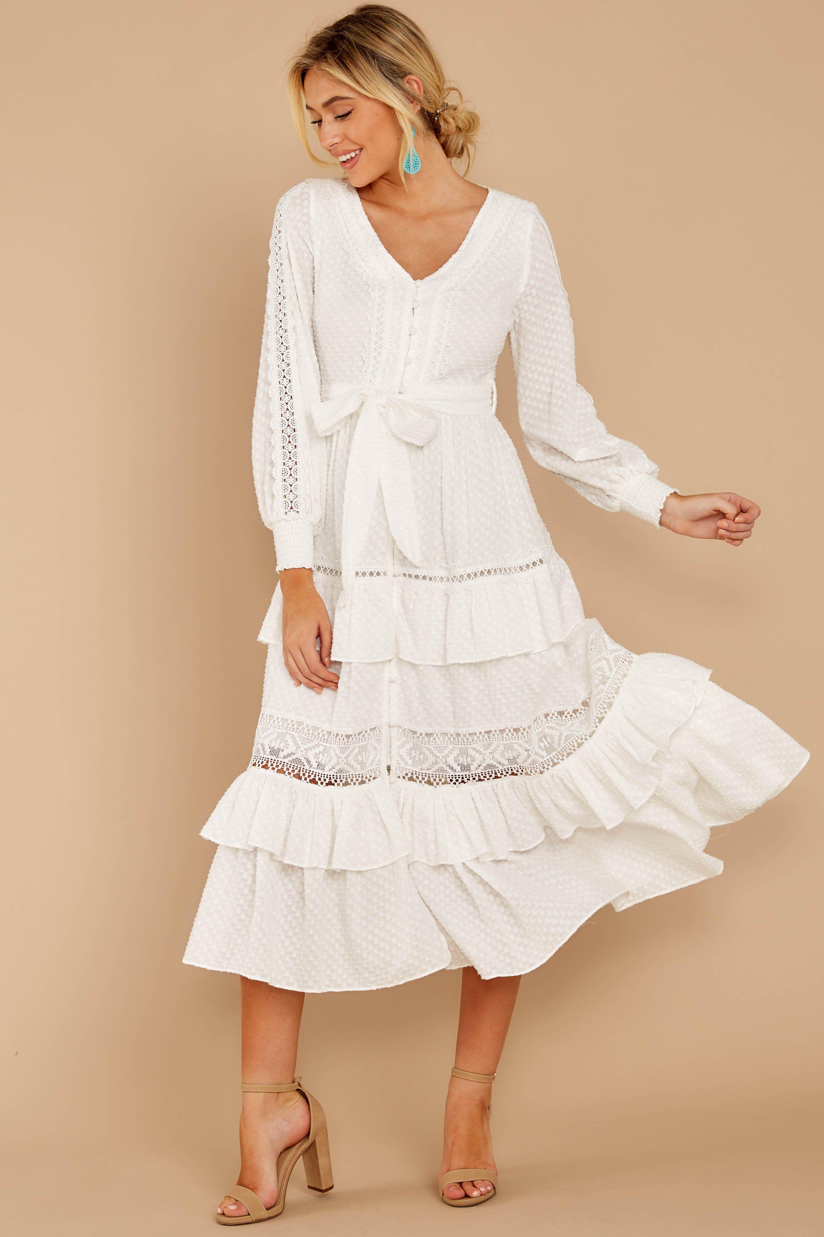 Elegant White Lace Midi Dress Flowy Tiered Lace Midi Dress 84 Red Dress White Lace Midi Dress Lace Dress Lace White Dress [ 4226 x 2818 Pixel ]
