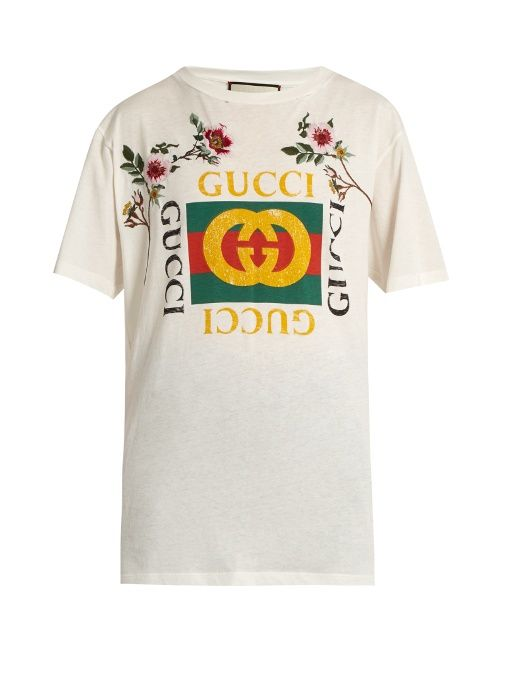 166b927e508 Gucci Distressed and embroidered logo T-shirt