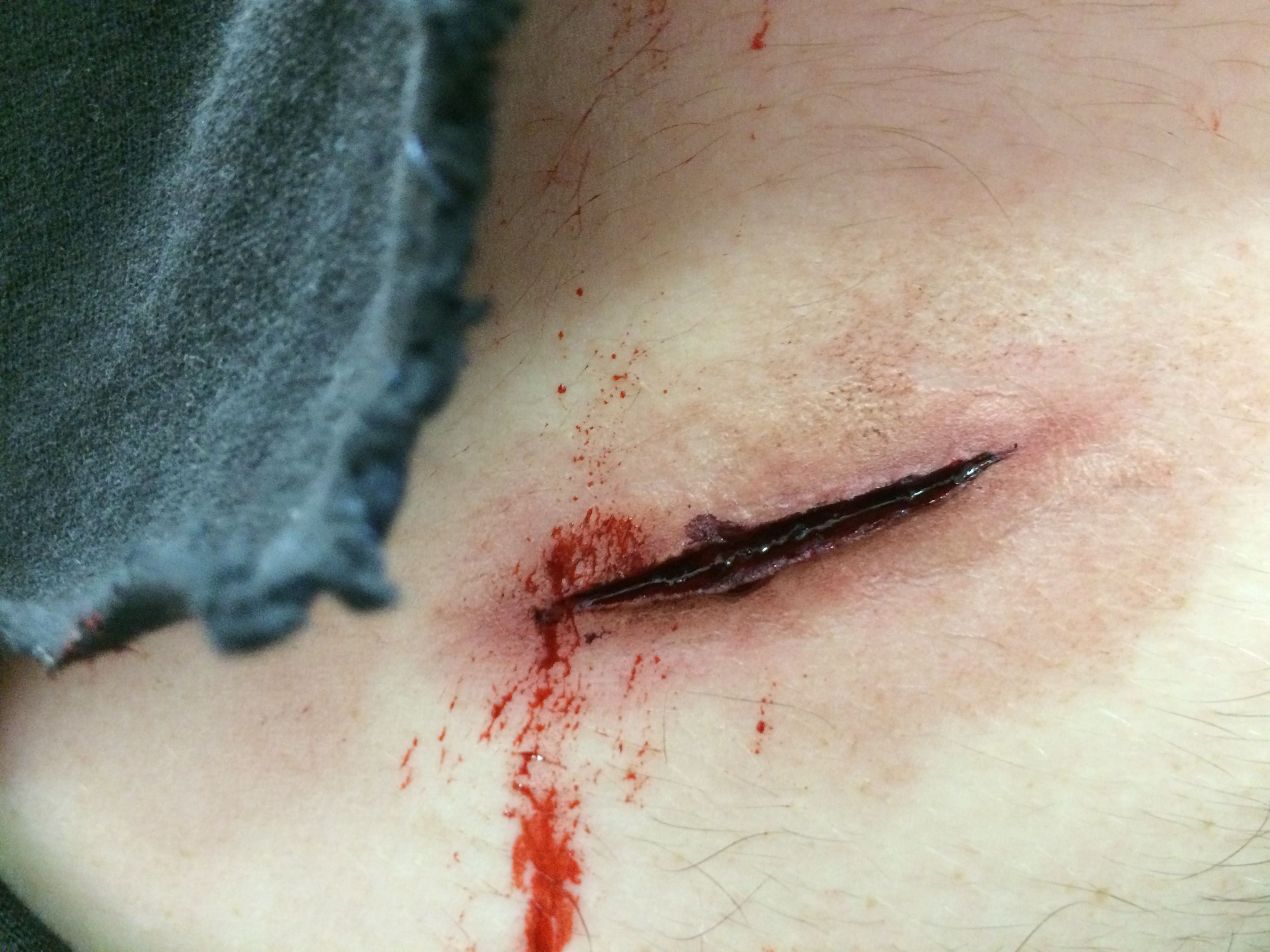 stab wound with scar wax makeup katie saarikko valeiia