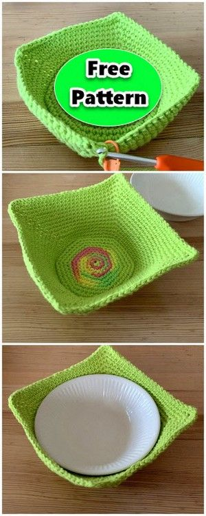 CROCHET GREEN SIMPLE COZY BOWL  #crochetbowl