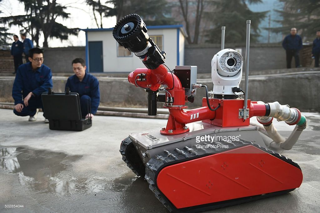 A 360 degree camera on a firefighting robot is seen at a