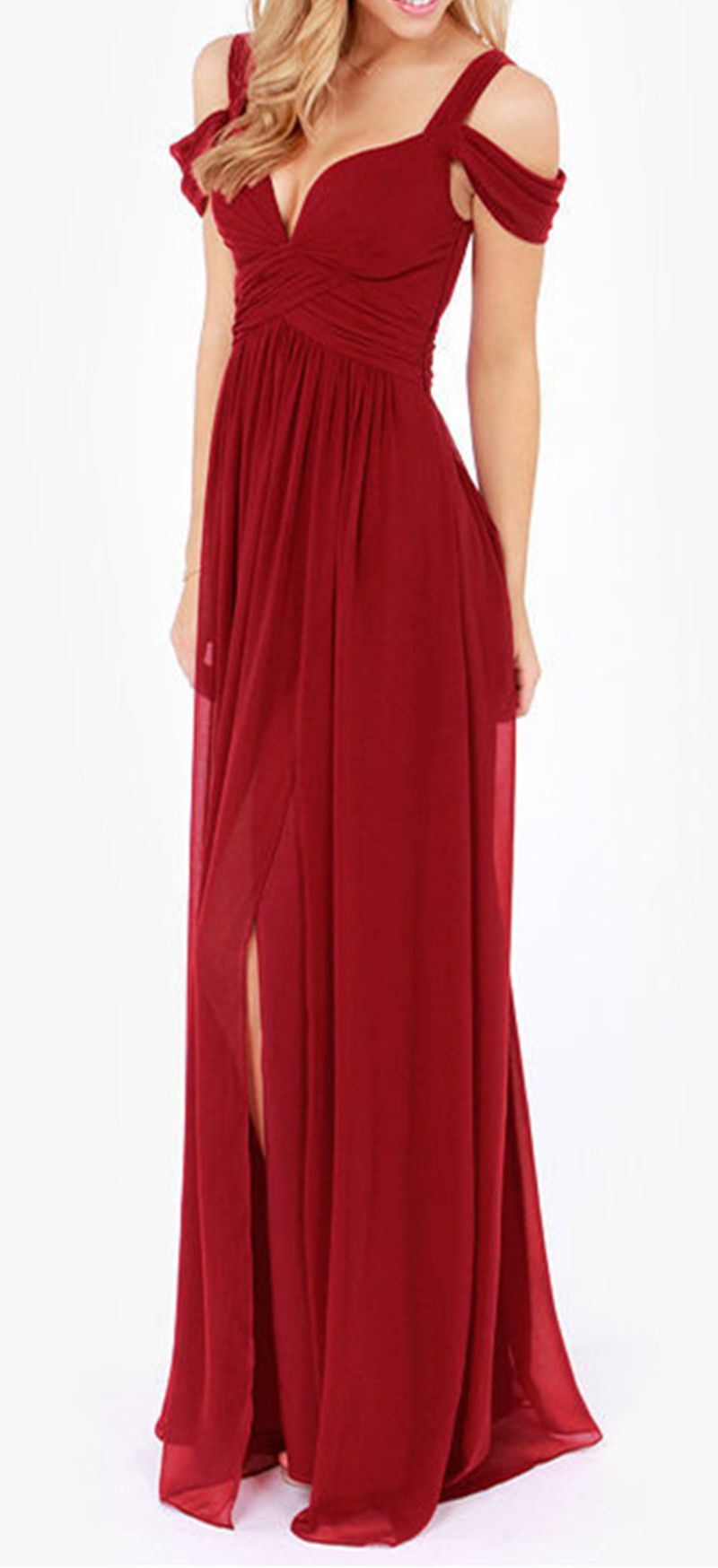 This bold off shoulder wine red vneck maxi dress is a classic gown