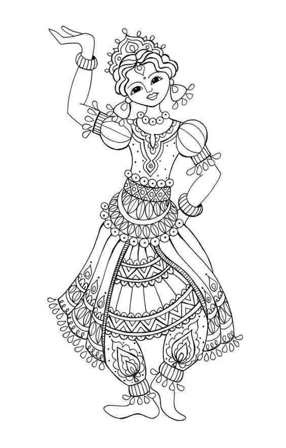 Saree/Indian Girl Coloring Page | Иллюстрации | Pinterest | Indian girls