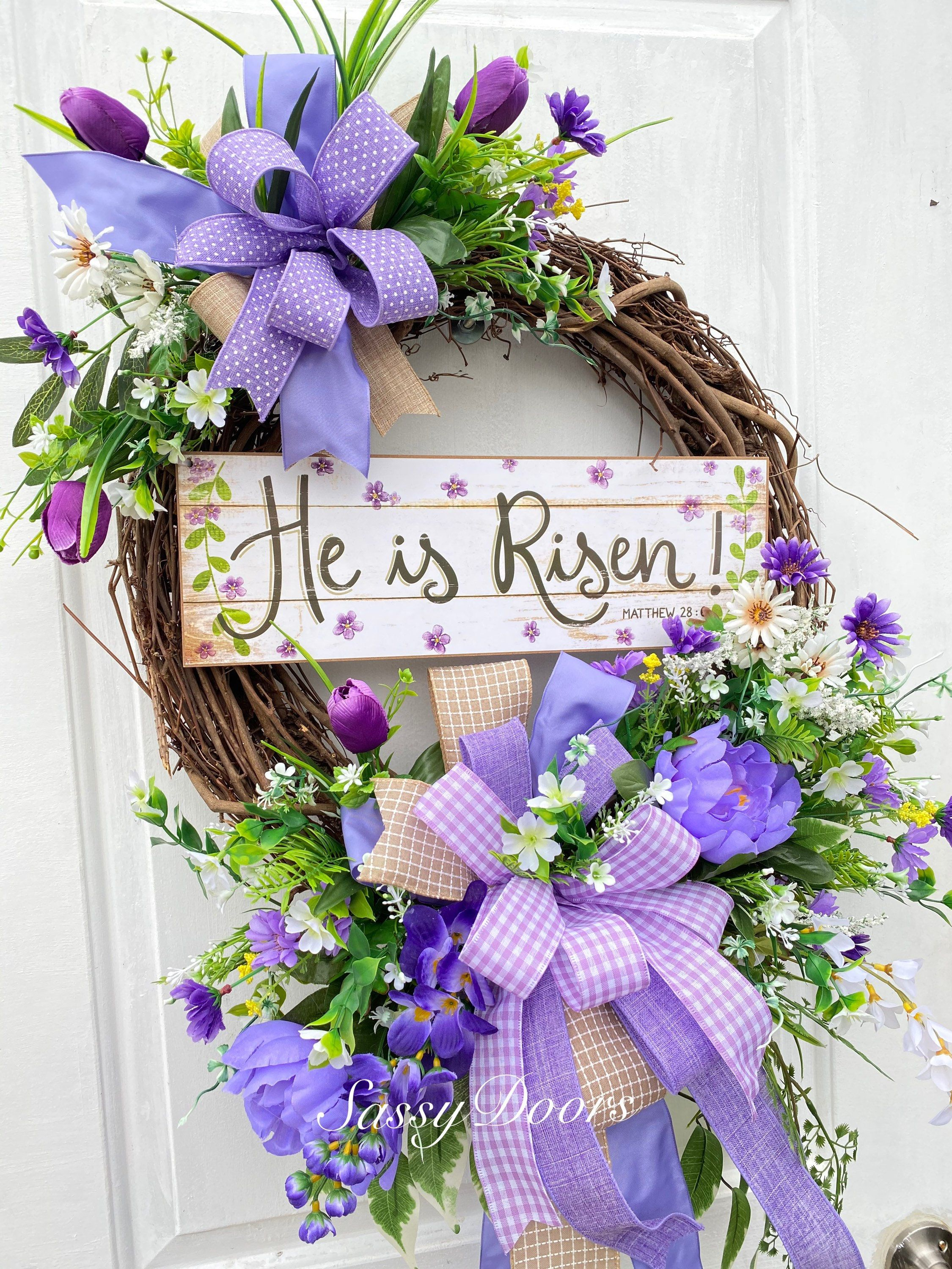 Photo of Easter Wreaths, Easter Religious Wreaths, Spring Wreaths For Front Door, He Is Risen Wreath, Sassy Doors Wreath