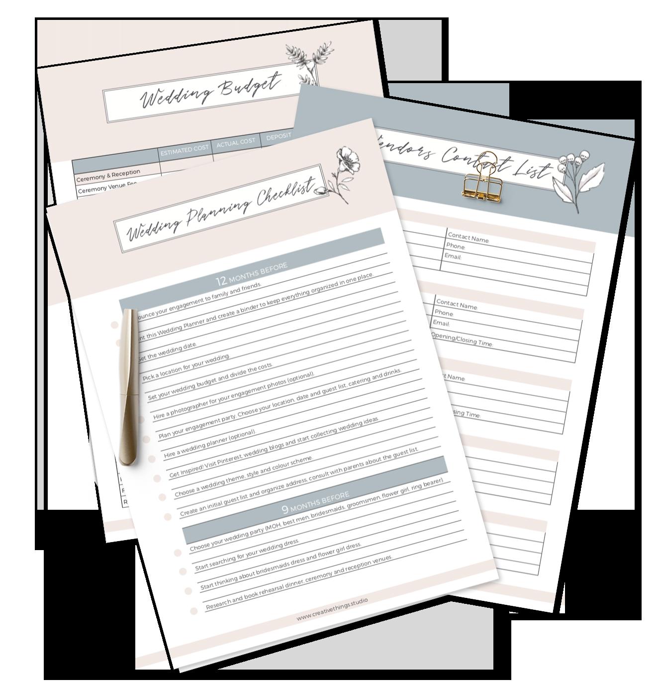 Free Printable Wedding Planner By Creativethings Studio Free Wedding Planner Printables Wedding Planner Printables Free Wedding Printables