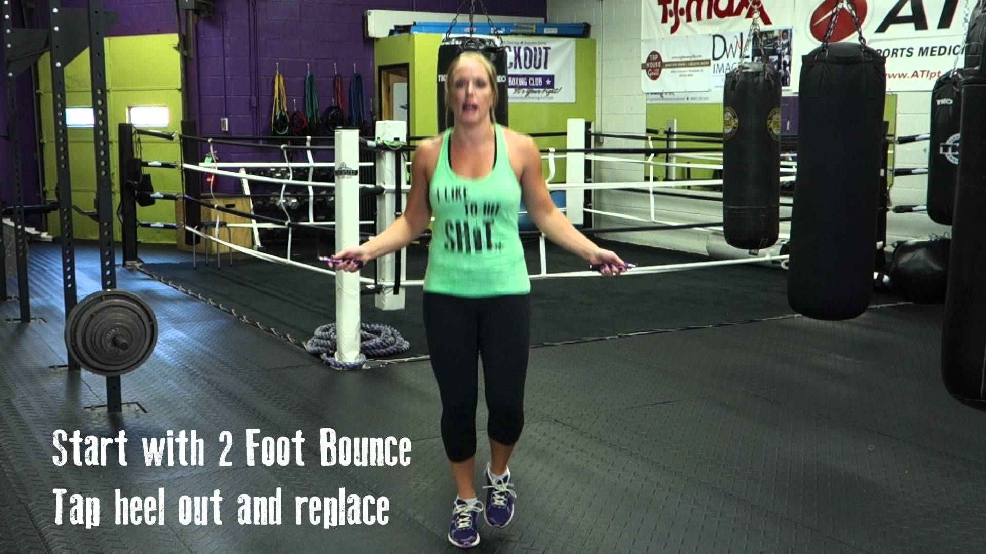 Coach jess demonstrates the boxer shuffle jump rope