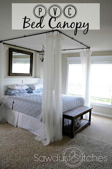 cómo hacer una cama con dosel pvc, dormitorio ideas de cómo, muebles ...