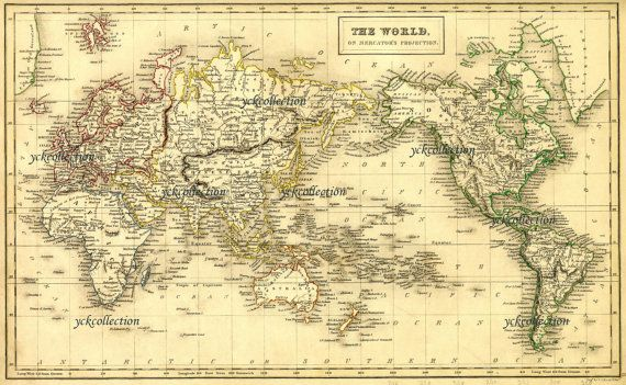 Antique World Map 8 x 10 to 28 x 42 Vintage 1840 Map in – Map World High Resolution
