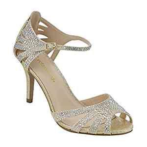 Amazon.com | City Classified Reason Women's Strappy Open Toe Iridescent Low Heel (5.5, Light Gold) | Heeled Sandals