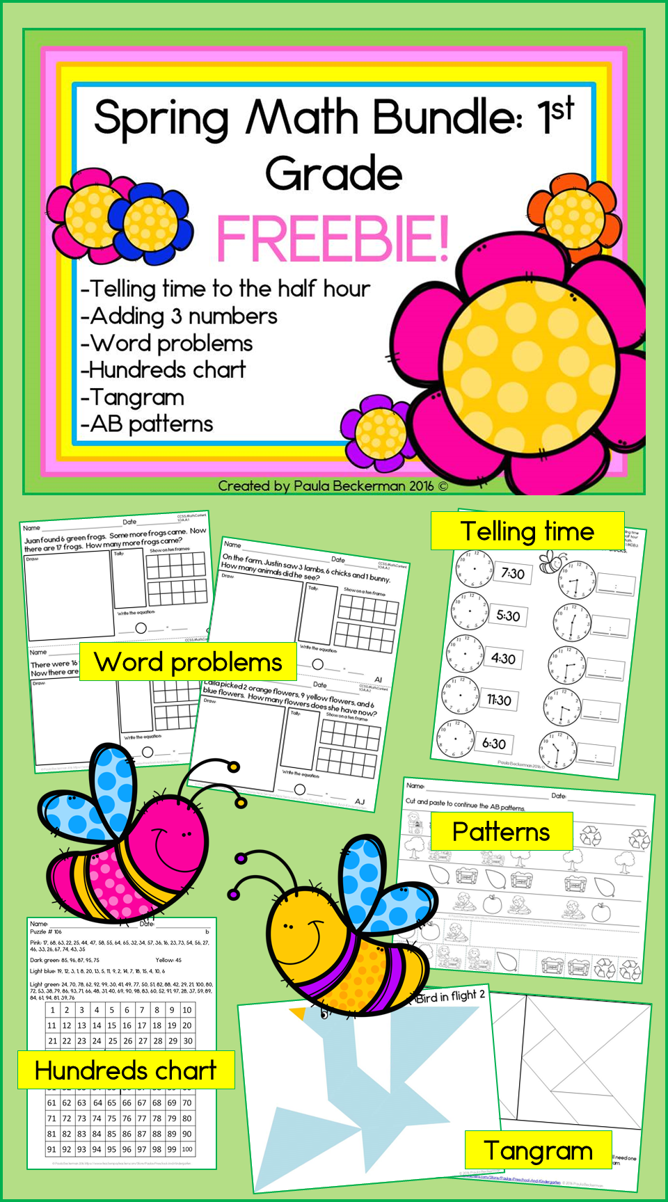 Spring Math Bundle For First Grade FREEBIE! Telling time, adding 3 ...