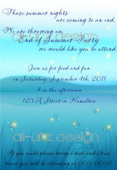 Fire Flies Personalized Invitations 5x7 inches Printable