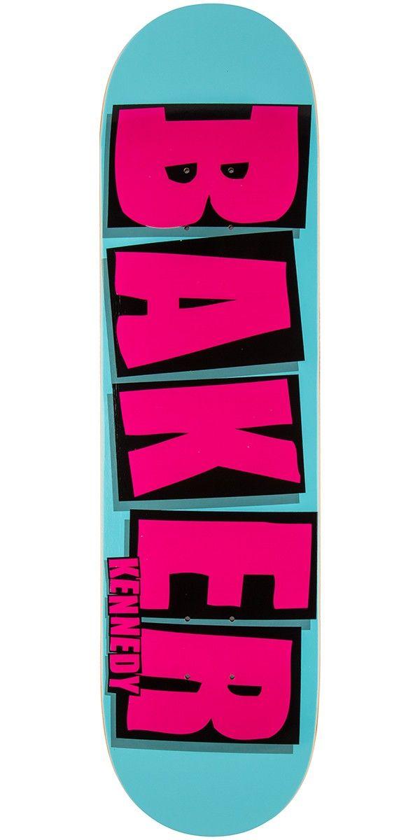 Baker Kennedy Brand Name Skateboard Deck Turquoise Pink 8 125 Skateboard Deck Art Skateboard Decks Skateboard