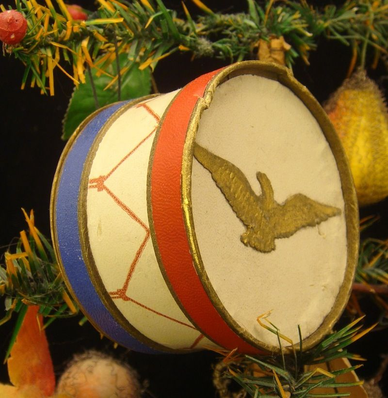 Marching Band Christmas Ornaments Part - 27: Patriotic Marching Band Drum, Dresden Candy Container Christmas Ornament,  With Gold Eagle