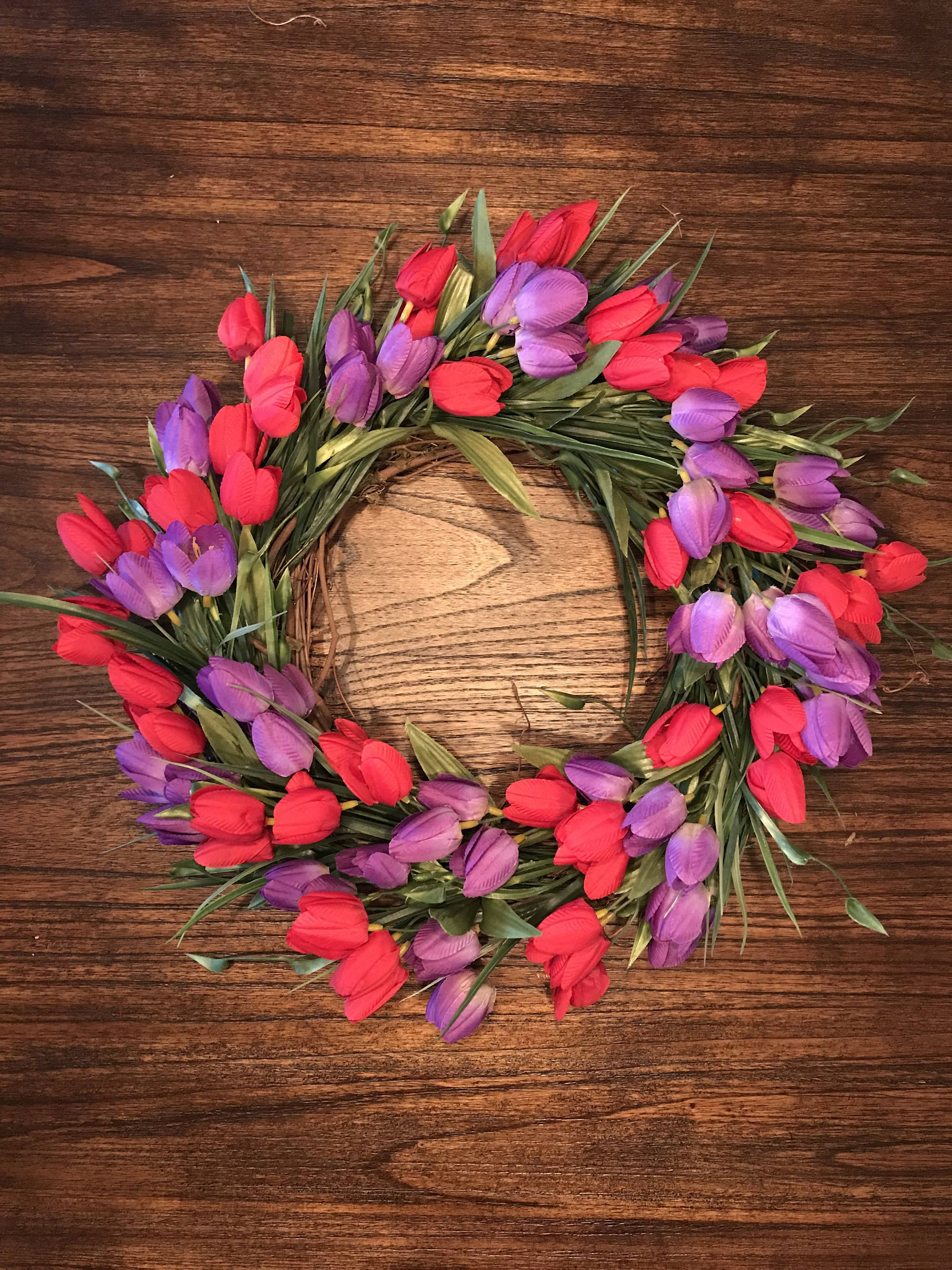 Red And Purple Valentine S Day Wreath Front Door Wreaths Spring Tulip