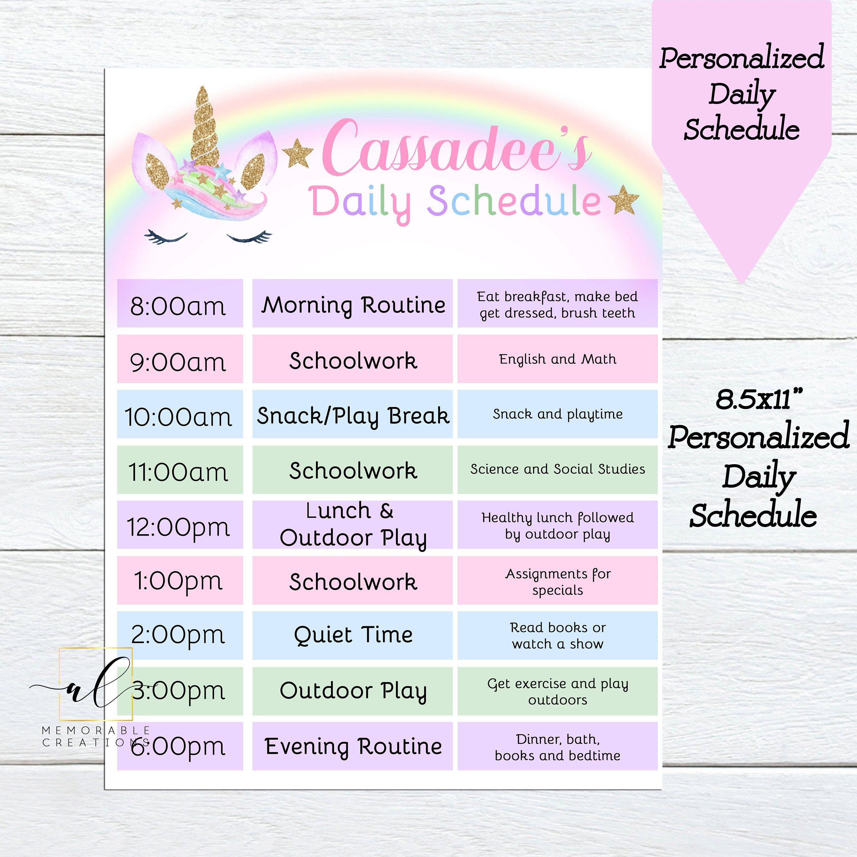Personalized Unicorn Daily Schedule Unicorn Daily Planner Etsy Homeschool Daily Planner Daily Routine Chart Daily Schedule