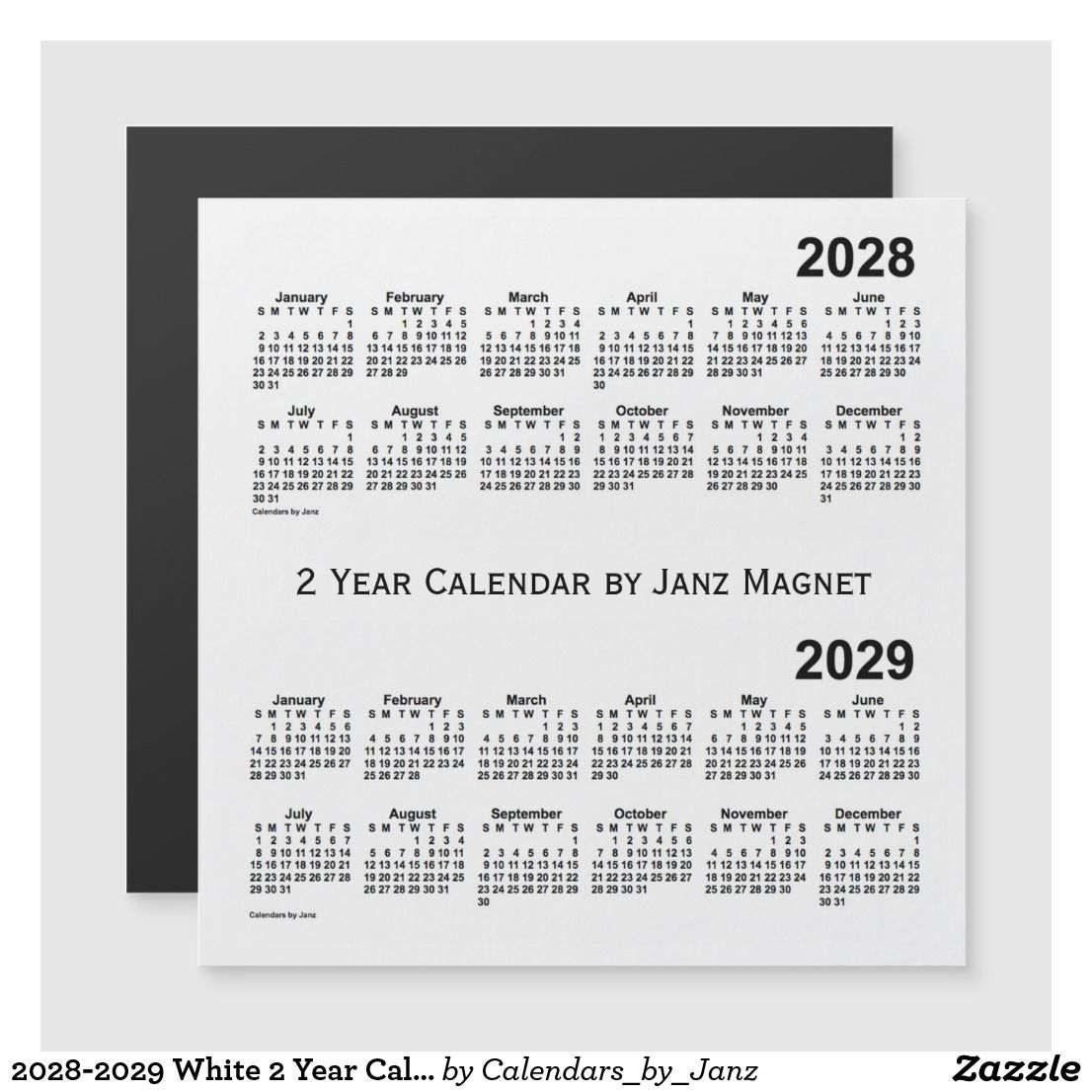 2028 2029 White 2 Year Calendar By Janz Magnet Zazzle Com