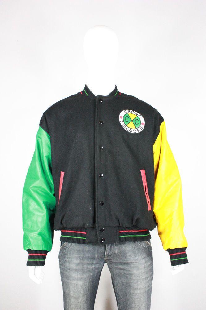 Cross Colors Jacket 2 Vintage Leather Wool Varsity Rare 90 S 80 S