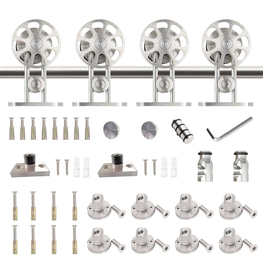 Winsoon 13 Ft 156 In Stainless Steel Sliding Barn Door Hardware Kit Spoke Wheel For Double Door With Non Routed Floor Guide Silver Sliding Barn Door Hardware Barn Door Hardware Double Doors