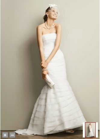 David's Bridal Two-in-One Organza Fit and Flare Gown