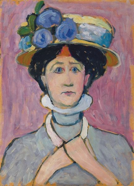 Self portrait with hat, c.1909 (oil on board) Gabriele Munter (1877-1962) Private Collection