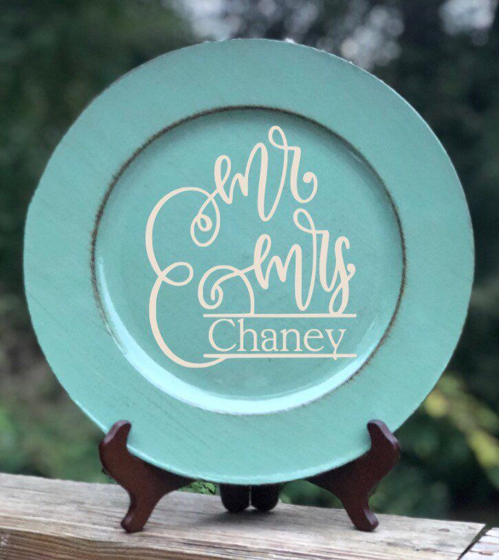 Mr mrs personalized wedding gift plate personalized