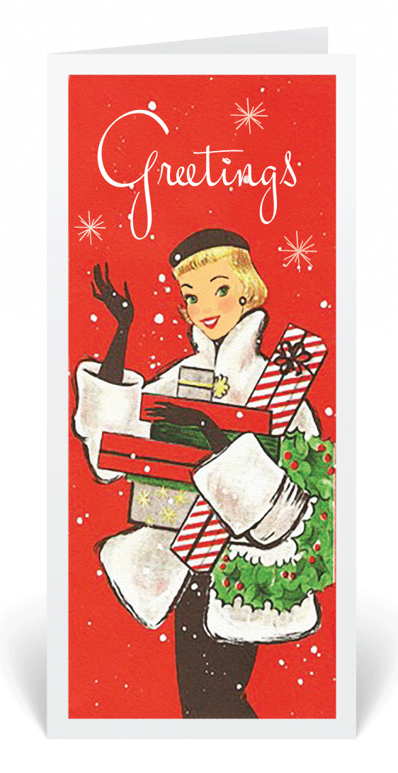 Vintage retro 1950s holiday card vintage holiday cards for women retro modern christmas greeting