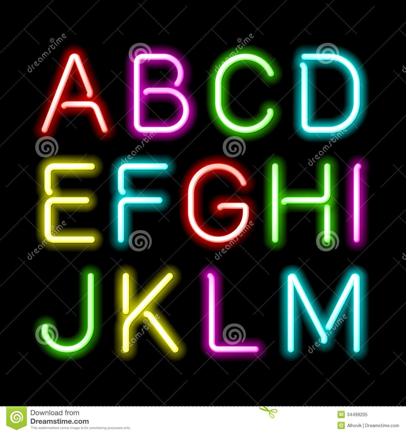 Neon Light Font Download Neon glow alphabet Alphabet