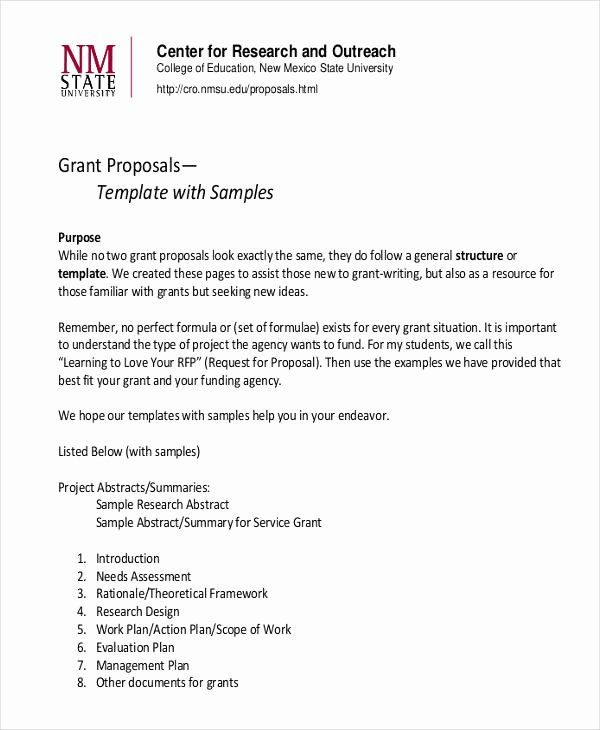 Sample Grant Proposal Template Unique Free 12 Grant