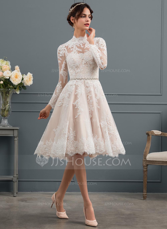 Us 282 00 A Line Illusion Knee Length Lace Wedding Dress Jj S House Short Lace Wedding Dress Short Wedding Dress Top Wedding Dresses [ 1370 x 1000 Pixel ]