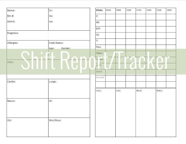 Get Organized ShiftReport Tracker  Nursey Stuff