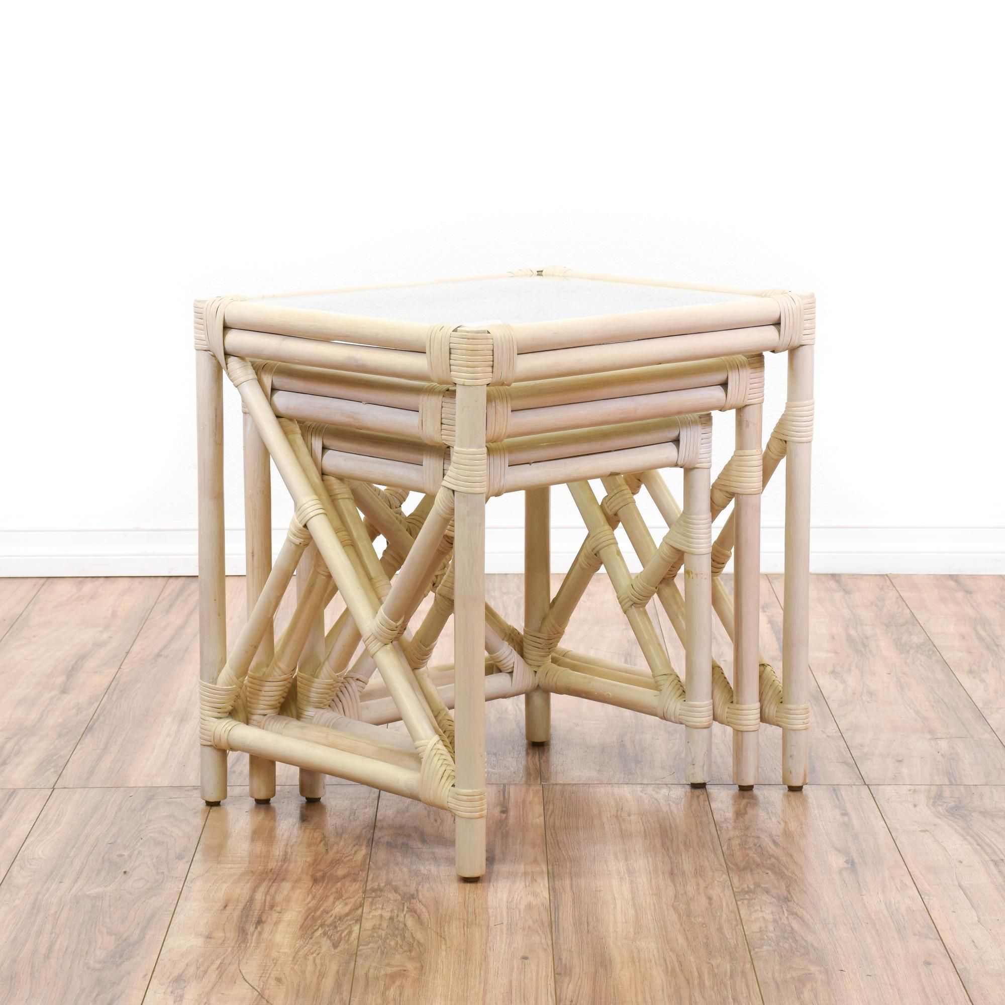 Set Of 3 Whitewashed Rattan Nesting Tables