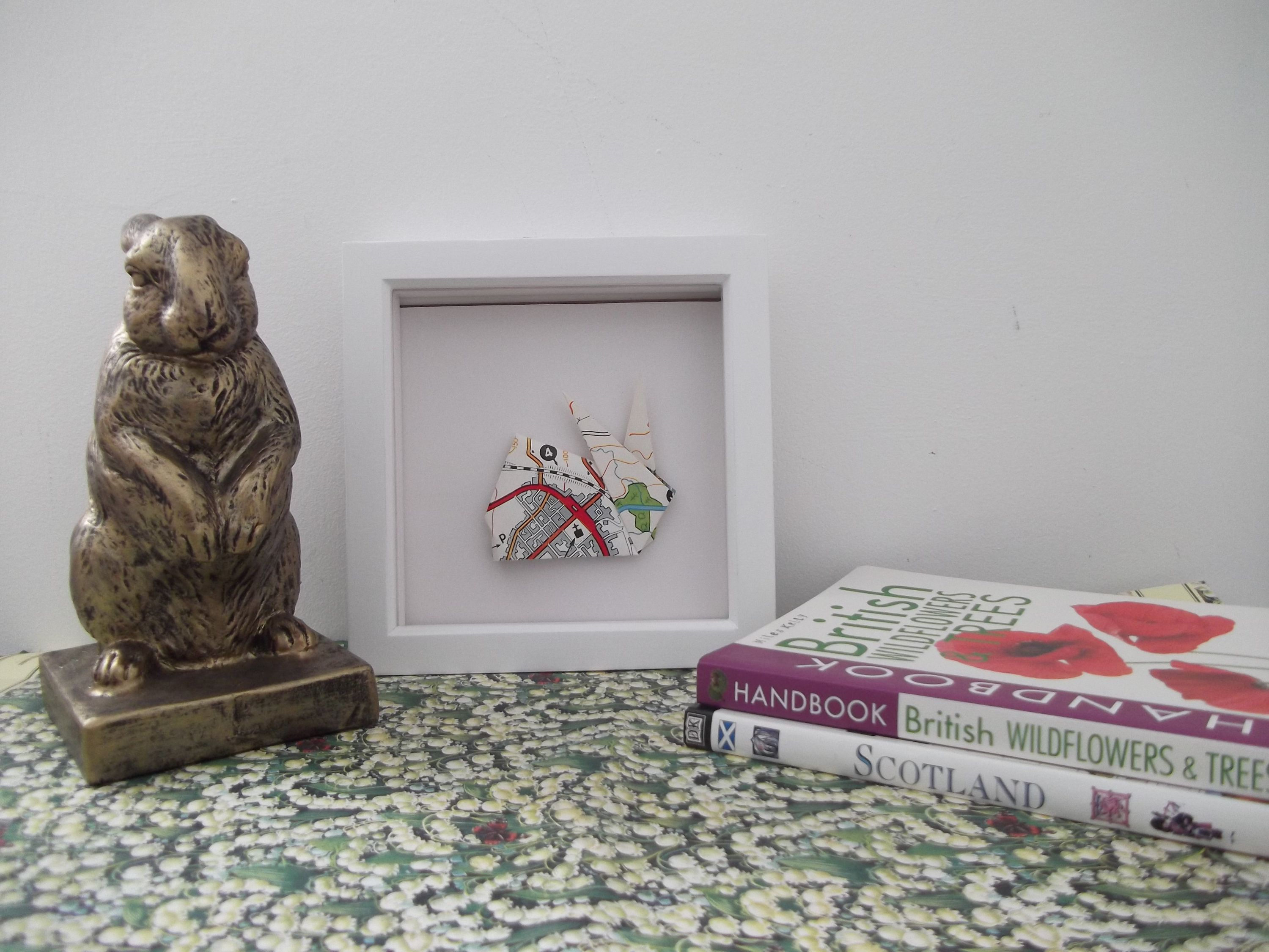 Photo of Framed Origami Rabbit Wall Decor, Vintage Road Map, anniversary gifts, hallway art, paper gifts, animal art, quirky gifts, driving gifts