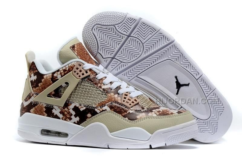 Original 2016 Air Jordan 4 Snakeskin White Grey Brown Sale