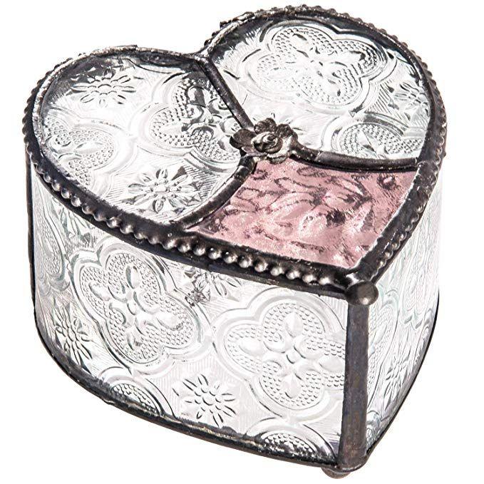 J Devlin Box 520 Curved Glass Heart Box Vintage Rose Pink Keepsake Romantic Gift Vanity Jewelry ...