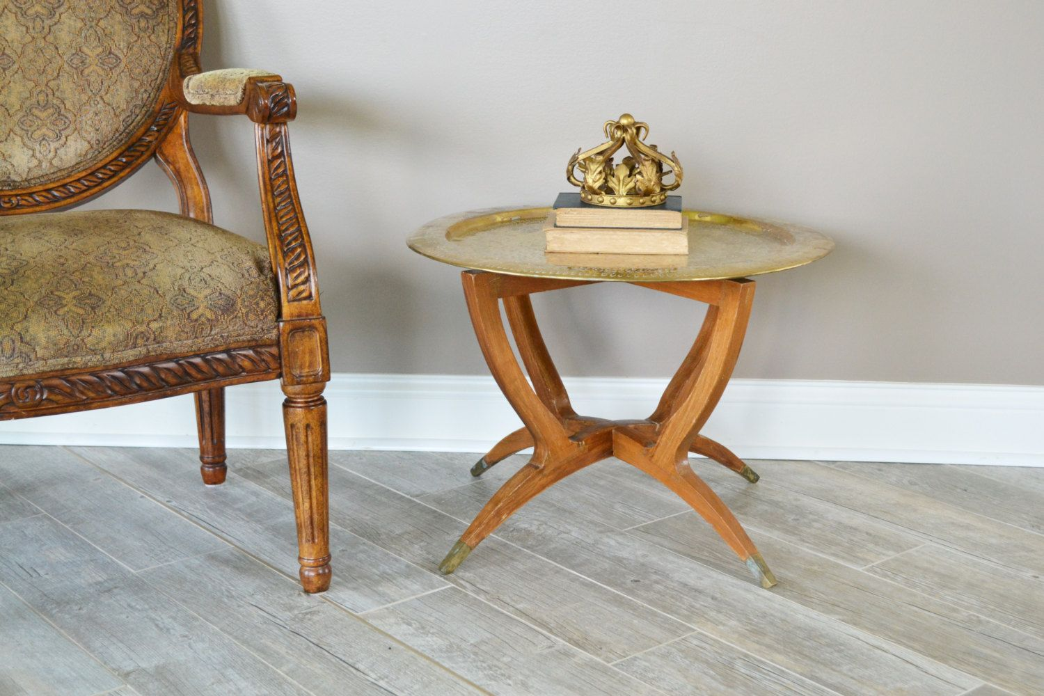 Mid Century Modern Spider Leg Coffee Table | Vintage Moroccan Table With  Brass Tray | Space