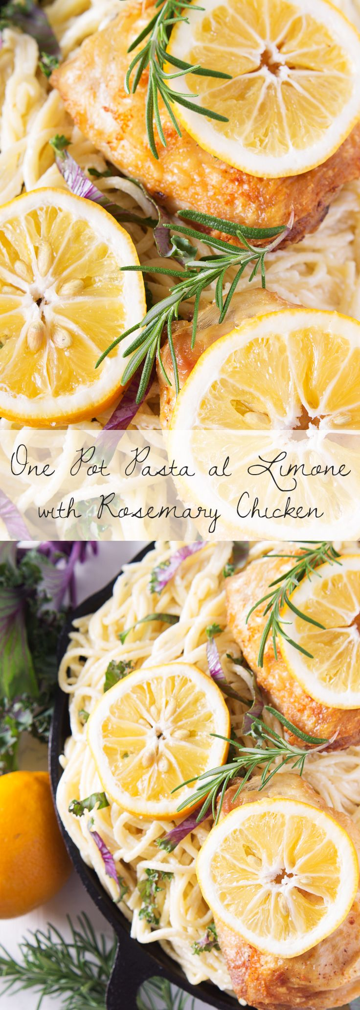 A deliciously easy one pot lemon spaghetti recipe with rosemary and lemon chicken that will impress the pants off your dinner guests! I made this dish with spaghetti but it will work perfectly with any semolina pasta.