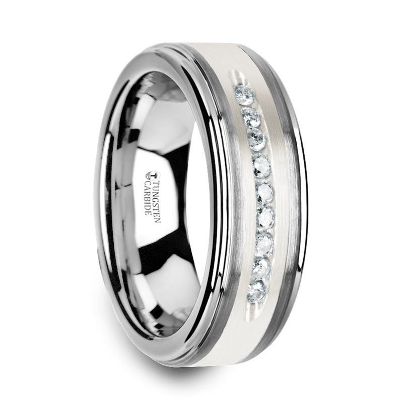 Harper Tungsten Wedding Band With Raised Center Brushed Silver Inlay And 9 White Diamonds
