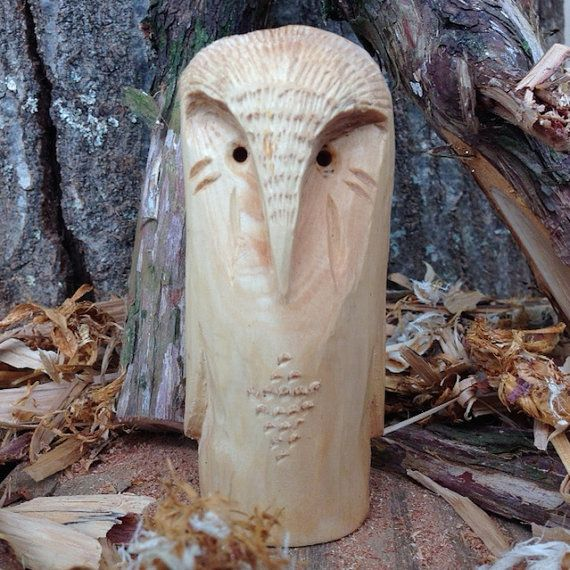 Hand Carved Cedar Wooden Owl 4.5 by UntilSunset on Etsy