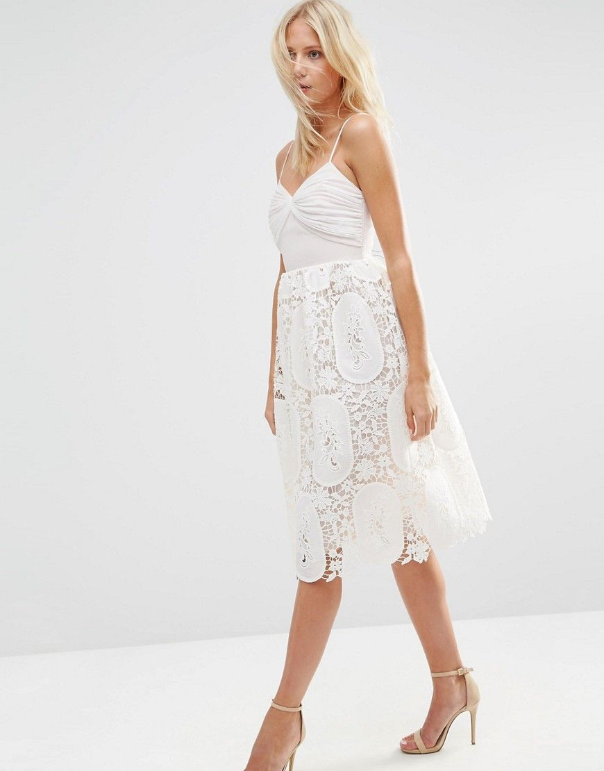 ASOS Prom Dress With Pleat Bust And Lace Skirt - Pink | My Feminine ...